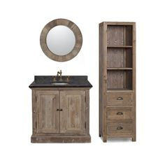 LimestoneTop 37-inch Single Sink Rustic Bathroom Vanity with Matching Wall Mirror, and Linen Tower