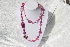 Ketten lang - Kette rosa pink Perlen Schmuck Perlmutt Herz - ein Designerstück von trixies-zauberhafte-Welten bei DaWanda