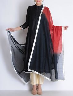 Buy Red-Black-Silver Gota Embellished Maheshwari Cotton Dupatta Online at Jaypore.com