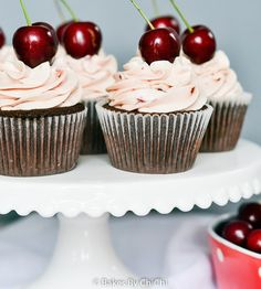 Cherry Filled Devil's Food Cupcakes with Cherry Buttercream
