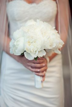 Brides: Classic White Peony Bouquet . A formal all-white peony bouquet created by Los Angeles-based event designer JOWY Productions.