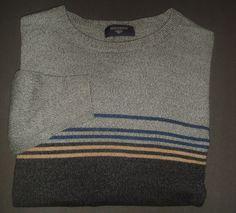 DOCKERS   Men's Sweater   SZ M    Morino Wool   Gray Striped   V-Neck  Pullover  #DOCKERS #VNeck