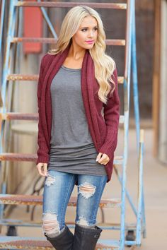 For Your Love Cardigan - Wine from Closet Candy Boutique #fashion #shop