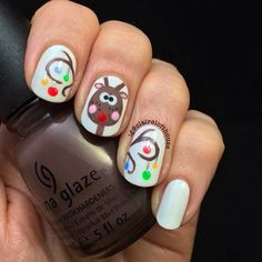 Cute Reindeer Nail Art Design for Christmas #holidays #manicure