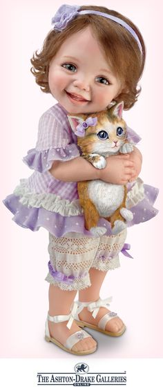 Poseable child doll by Artist Jane Bradbury holds removable kitty. Soft curls, blue eyes, custom-designed gingham outfit.