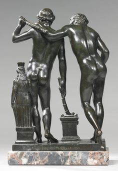 Francesco Righetti (Italian, 1749-1819),Castor and Pollux, after the antique,1792, Rome. Bronze on a later marble base, 32.4cm.