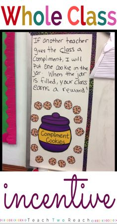A great whole class management system. Students can earn compliment cookies when they receive a compliment from any teacher. Freebie alert!!