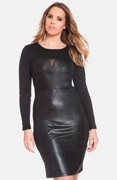 ELOQUII Faux Leather & Knit Sheath Dress (Plus Size) available at #Nordstrom