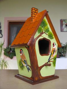 Beautiful painted bird house - individual designs to order Decorative Bird Houses, Bird Houses Painted, Bird Houses Diy, Fairy Houses, Painted Birdhouses, Birdhouse Craft, Birdhouse Designs, Birdhouse Ideas, Bird House Feeder