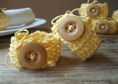 Wood Buttons Serviette Rings- Set of 7, Crochet Yellow Paper Napkin Rings with Ribbon, Yellow Table Decor, Table Accessories, Home Decor