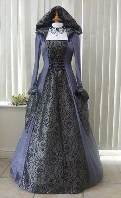 Slate Grey Medieval Hooded Dress made in velvet and taffeta