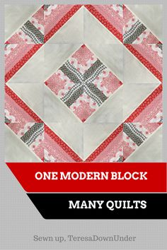 One modern block, many quilts - video tutorial--The mini quilt above is made with 4 modern 12 inch blocks. Each block is made with four half square triangles (HSTs). This tutorial makes 4 HSTs which, arranged in different ways, make different blocks. Each block can make one or more quilt layouts.