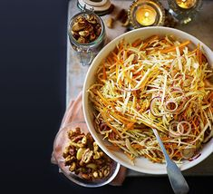 Winter slaw with maple candied nuts Vegan Coleslaw vegan winter slaw Nut Recipes, Bbc Good Food Recipes, Fall Recipes, Vegetarian Recipes, Cooking Recipes, Buffet Recipes, Christmas Buffet, Vegan Christmas, Christmas Cooking