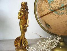 Vintage Birth Of Venus Statue Figurine Gold Leaf On Cultured