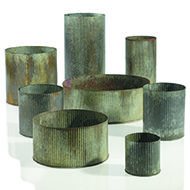 Accent Decor - Metal   NORAH VASES  Zinc containers with antiqued finish