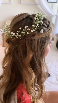 Fishtale braid and handmade flower crown Junior Bridesmaid Hair Braid crown Fishtale Flower Handmade Flower Crown Hairstyle, Flower Girl Hairstyles, Bride Hairstyles, Down Hairstyles, Hairstyle With Flowers, Flower Crown Veil, Braid Crown, Bridesmaid Hair, Prom Hair