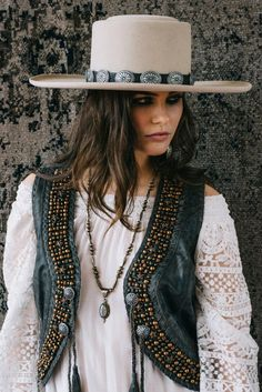 Les Gauchos Bolero Hat 8 to 12 weeks estimated delivery All returns of hats and/or ✿⊱╮boots are subject to exchange or store credit only. Cowgirl Chic, Cowgirl Mode, Estilo Cowgirl, Gypsy Cowgirl, Cowgirl Hats, Western Chic, Cowgirl Outfits, Cowgirl Style, Western Wear