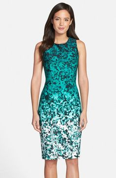 Vince Camuto Ombré Floral Print Sleeveless Sheath Dress (Regular & Petite) available at #Nordstrom