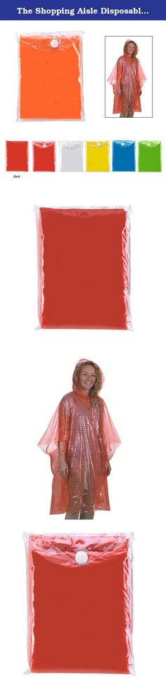 The Shopping Aisle Disposable Hooded Rain Poncho - Red (Set of 4). Four (4) emergency hooded rain ponchos . Most of us don't think far enough ahead, especially if we trust our weatherperson. Dropping the kids off at school, out hiking, hunting, fishing or running we normally are not prepared when wet weather strikes. How many times have you a left for work or an outing on a bright sunny day, only to have it cloud up and pour. This is a must have item, that everyone should have at home, in...