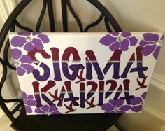 Sigma Kappa Greek Sorority Canvas hand-painted sign, wall hanging, letters