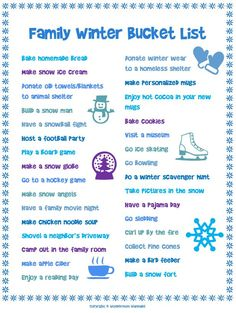 Free Printable Family Winter Bucket List
