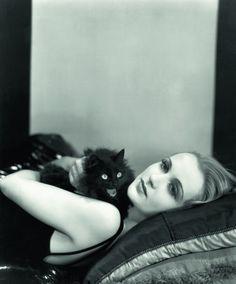 Carole Lombard and a kitty companion.