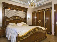 wooden bedroom furniture with gold leaf