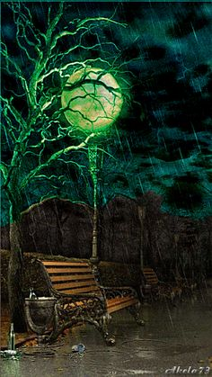 Gif ✿*´♥¨✿* ♥¸* CHUVA Bench, lamp and rainstorm