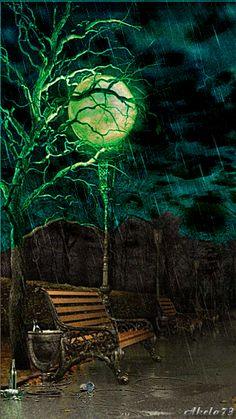 Gif ✿*´♥¨✿* ♥¸* CHUVA Bench, lamp and rainstorm