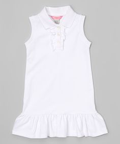 White Polo Drop-Waist Dress - Toddler & Girls