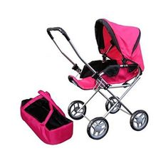 Doll Bassinet Stroller with Travel Carry Bag for 18 Inch Doll