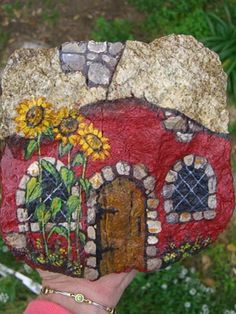 SUNNY LITTLE CHATEAU - hand painted rock - AWESOME UNIQUE ART