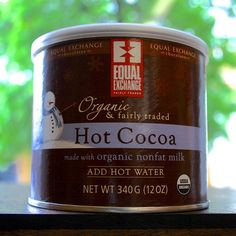 Equal-Exchange-Hot-Cocoa-Hot-Chocolate-Mix-Fair-Trade-Add-Hot-Water.JPG  This Hot chocolate is fair trade and is easily accessible at grocery stores. The production of these products are safer for the environment and cheaper.