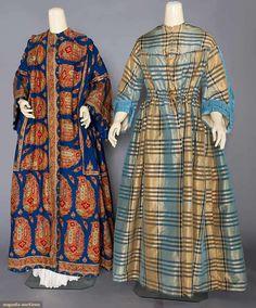 "Maternity Wrappers 1850-1860s, printed blue wool challis, length 53""-59""; silk plaid: bust: 40"" 2aist 24""; length: 58"""