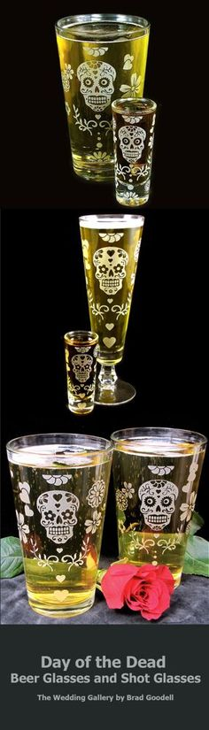 Day of the Dead beer glasses and shot glasses, Halloween wedding  www.BradGoodellWeddings.com