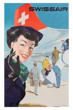 Original vintage Swissair travel poster by Hans Looser 1953 Travel Ads, Travel And Tourism, Air Travel, Retro Poster, Vintage Travel Posters, Vintage Advertisements, Vintage Ads, Retro Airline, Vintage Airline