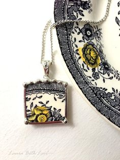 Broken china jewelry necklace pendant Victorian black white toile English transferware yellow flower
