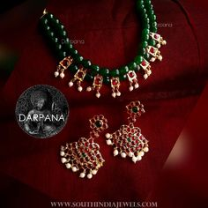 Beaded Kemp Necklace and Earrings ~ South India Jewels Pearl Necklace Designs, Beaded Jewelry Designs, Gold Jewellery Design, Bead Jewellery, Jewelry Patterns, Jewelery, Beaded Necklace, Necklace Set, Antic Jewellery
