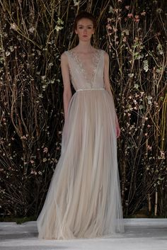 Plissé silk tulle Grecian draped gown with gold branch embroidered bodice. Color. Ivory Nude Gold