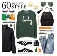 """""""Happy St. Patrick's Day!"""" by lgb321 ❤ liked on Polyvore featuring Marc Jacobs, J.Crew, Ray-Ban, Tumi, Battington, adidas, Bobbi Brown Cosmetics, Clinique, Free Press and Cara"""