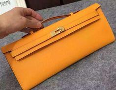 Limited Condition!Hermes Original Epsom Leather Kelly Cut Clutch Bag Orange 2016