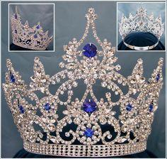 Gorgeous continental blue silver sapphire crown tiara - $140
