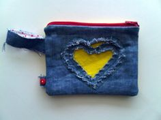 Makeup pouch from old pair of jeans.