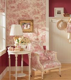 Thibaut Toile Resource Vol II - Chateau Du Loir Toile Red on Cream Toile Wallpaper