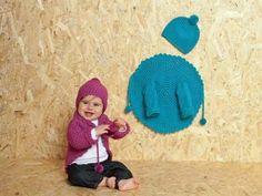 Stylisher Look zum Selbermachen für Ihr Baby | Eine Häkeljacke und eine Pudelmütze  - genau das richtige Outfit für kühlere Tage. Sie lieben das Besondere? Kein Wunder, schließlich ist Ihr kleiner Schatz ja auch einzigartig! Hier zeigen wir Ihnen, wie Sie ihm ganz einfach ein absolutes Unikat anfertigen können: Diese Jacke wird rund gehäkelt!