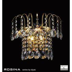 Diyas Rosina French Gold Wall Light - W. Gold Wall Lights, Ceiling Lights, Crystal Wall, Gold Walls, Applique, Chandelier, French, Inspiration, Lighting