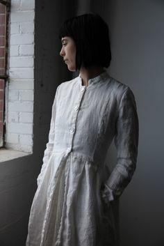 Róisín Washed Linen Long Jacket - Natural White
