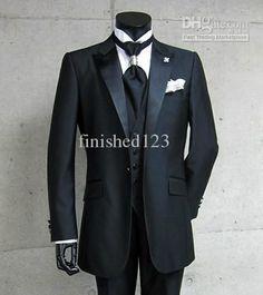 pas cher libre ship2014 personnalis fait haut noir un pic revers button smokings mari homme costumes - Costume Gris Anthracite Mariage
