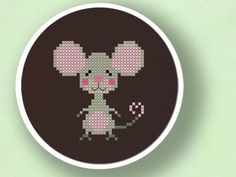 Cute Mouse Cross Stitch PDF Pattern by andwabisabi on Etsy, $3.00