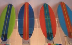 Surfboard night lights #fused glass